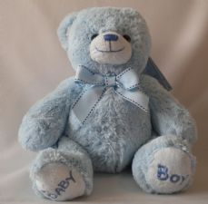 Nursery Bobby Bear. Blue 22 cm soft toy.